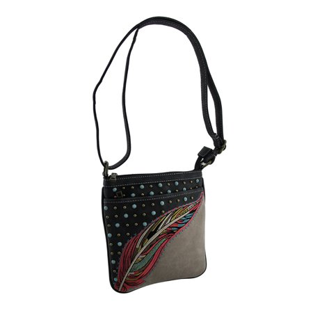 Embroidered Feathers & Bling Studded Concealed Carry Purse