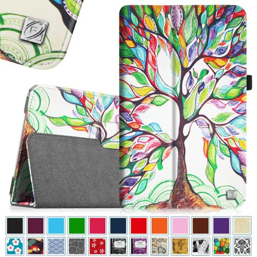 Samsung Galaxy Tab E 9.6 / Tab E Nook 9.6 Tablet Folio Case - Fintie Slim Fit PU Leather Stand Cover, Love Tree