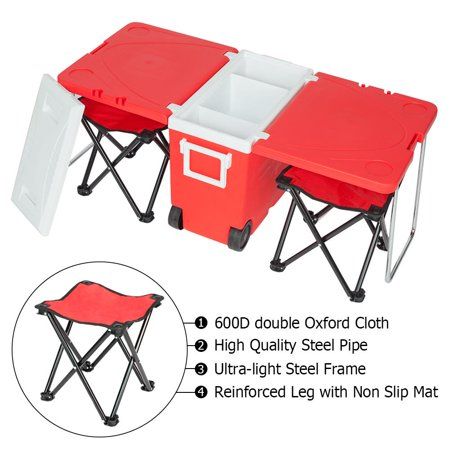9b6d9991fd0b UBesGoo Red Drink Cooler Cart Rolling Ice Chest for Picnic Camping w/ Table  & 2 Chairs