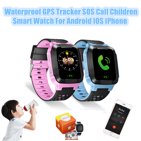 Eivotor Waterproof Gps Tracker Sos Call Anti Lost Kids Children Smart Watch For Android Ios Iphone  Blue With Camera Color