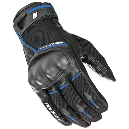Joe Rocket Waterproof Gloves (Joe Rocket Super Moto Mens Black/Blue Leather Gloves )