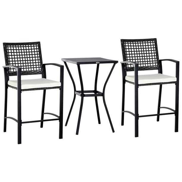 Outsunny 3 Piece Outdoor Classic Bar Style Patio Rattan Bistro Furniture Set