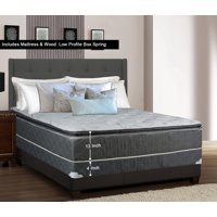 Wayton 13 inch Meduim Plush Foam Encased Hybrid Pillowtop Innerspring Mattress And 4 inch Wood Traditional Box Springfoundation Set No Assembly Required Good For The Back Twin Size 74