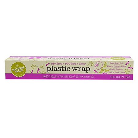 Natural Value  Clear Plastic Wrap, 100 Square Ft. Roll  Pack of 3