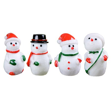 Flying Outlets 4PCS Micro Landscape White Snowman Resin Christmas Crafts Decoration Small Miniature Ornaments](Ornament Craft)