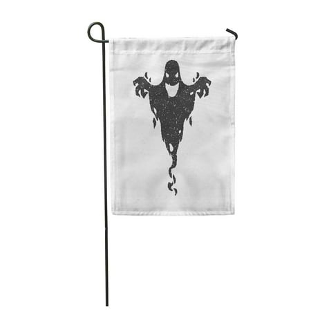 KDAGR Monster Halloween Scary Ghost White Shadow Silhouette Clipart Old Devil Spirit Garden Flag Decorative Flag House Banner 28x40 inch