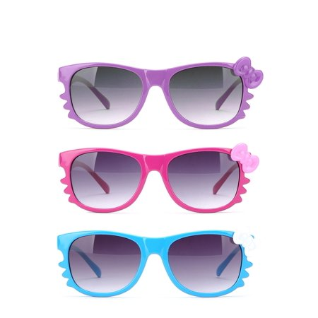 White Wayfarer Sunglasses (Newbee Fashion - Kyra Kids Retro Hello Kitty w/ Bow and Whiskers Lead-Free)