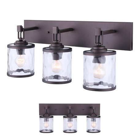 - Oil Rubbed Bronze Vanity Bathroom 3 Light Bar Fixture, Clear Watermark Glass Globes