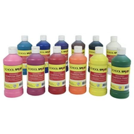 School Smart Washable Tempera Paint Set, Assorted Colors, Pint Set of 12 12 Colour Set