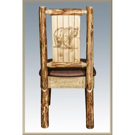 Glacier Country Side Chair - Saddle Upholstery with Laser Engraved Bear Design ()