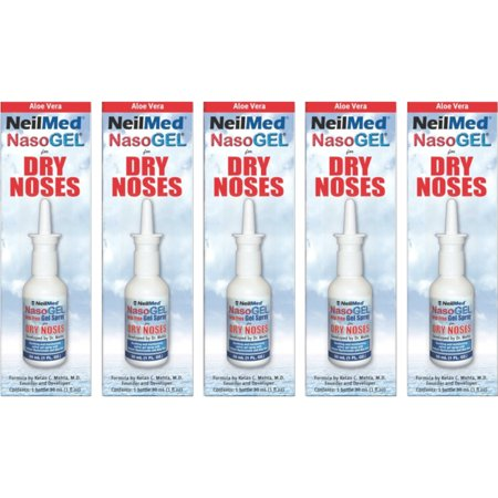 - 5 Pack - NeilMed NasoGEL For Dry Noses, Drip Free Gel Spray 1  fl oz Bottle Each