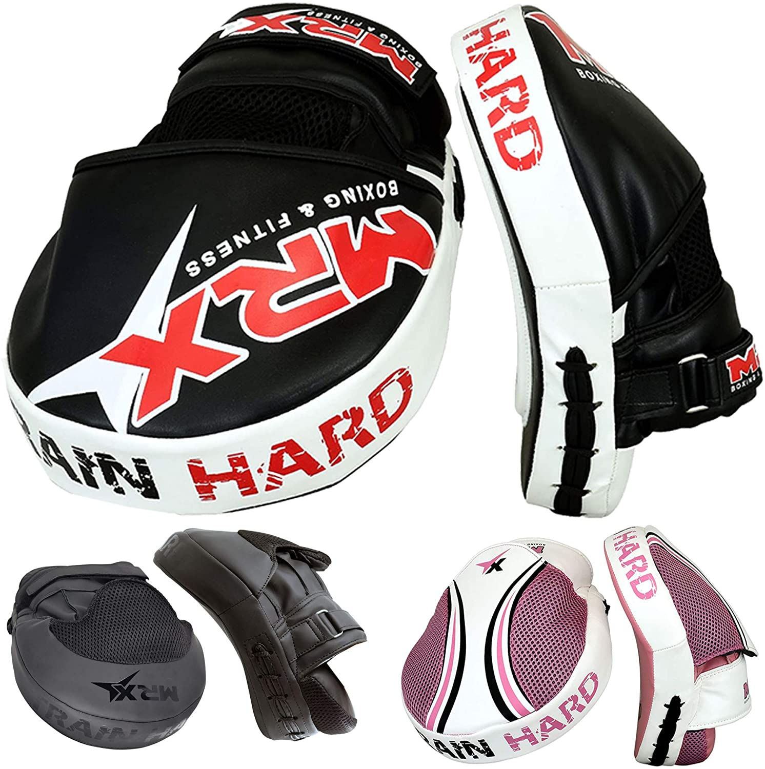 Boxing Focus Pads Hook /& Jab Mitts MMA Thai Kick Training Punch Bag Curved Pads