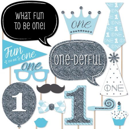 1st Birthday Boy - Fun to be One - First Birthday Party Photo Booth Props Kit - 20 Count - Photo Booth Fun Props