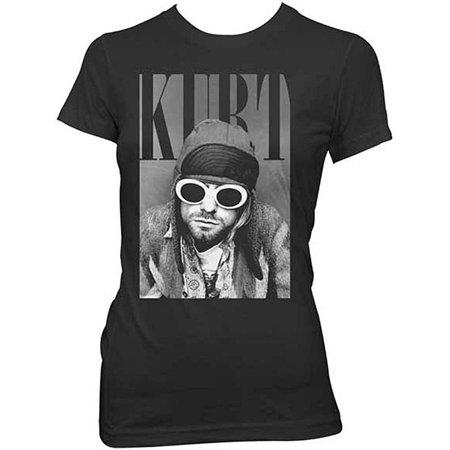 6f8a8d55 Ill Rock Merch - Nirvana Kurt Cobain With Shades Junior Women's T-Shirt -  Walmart.com
