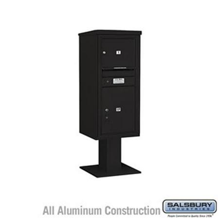 Salsbury 3410SX-01BLK 52.625 in. 10 Door High Unit Single Column 1 MB3 Door & 1 PL5 Pedestal Mounted 4C Horizontal Mailbox ADA Height Compliant Unit,