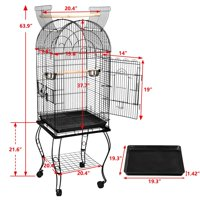 "63.9"" Rolling Standing Medium Dome Bird Cage Open Top Quaker Parrot Cockatiel Sun Parakeet Green-Cheek Conure Cage with Detachable Stand"
