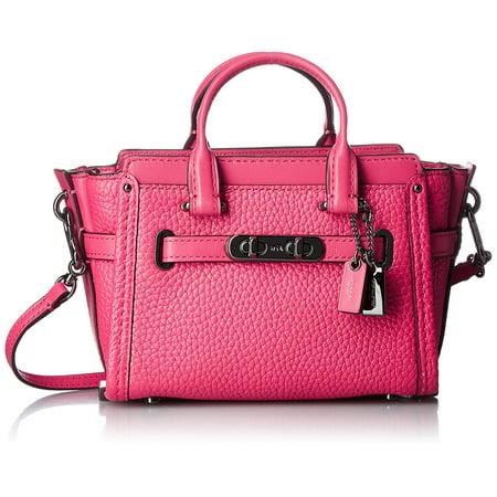 Coach Swagger Mini Dark Pink Amarenth Leather Handbag Bag