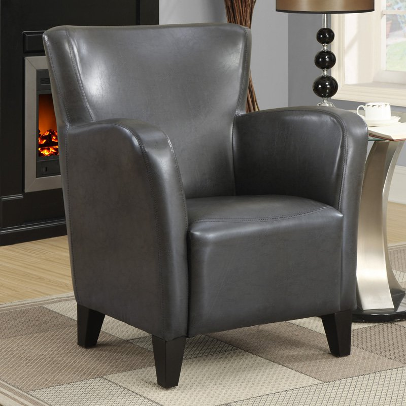 ACCENT CHAIR   CHARCOAL GREY LEATHER LOOK FABRIC