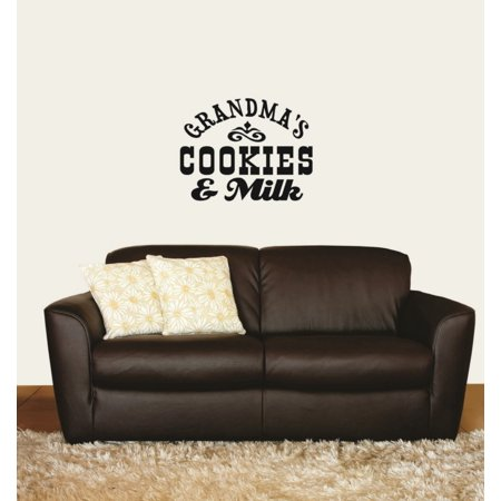 Grandma's Cookies and Milk Sign Home Kitchen Quote Sticker Vinyl Wall Decal 10 X 20 Inches