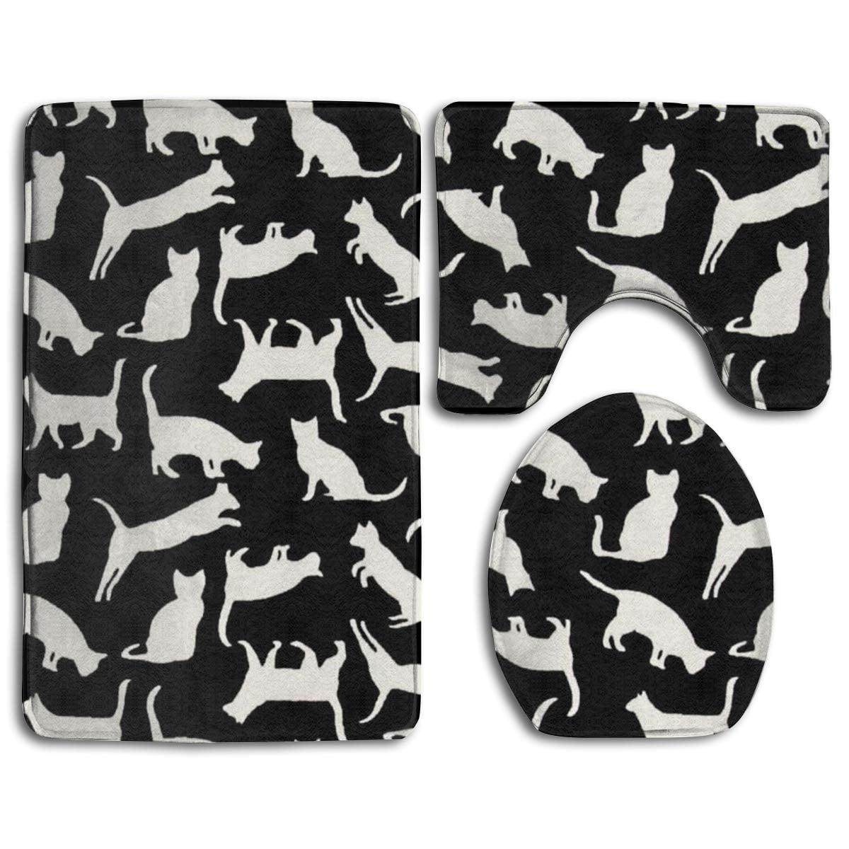 Pudmad Black Cute Cat Kittens 3 Piece Bathroom Rugs Set Bath Rug Contour Mat And Toilet Lid Cover Walmart Com Walmart Com