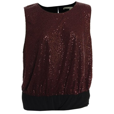 Seven7 Women's Plus Sleeveless Sequin Bodysuit 3x Doc Marten Red