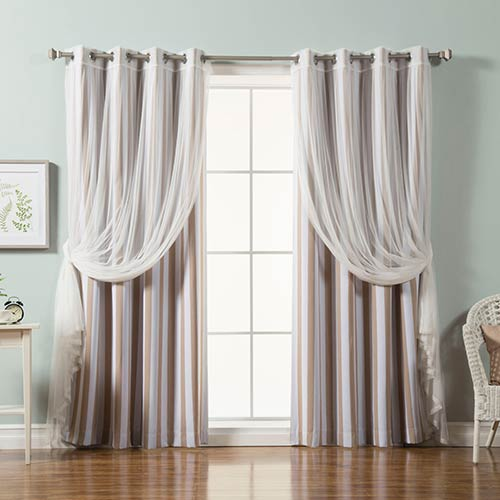 Click here to buy Beige Lace and Vertical Stripe 84 x 52 In. Window Treatments, Set of Four.