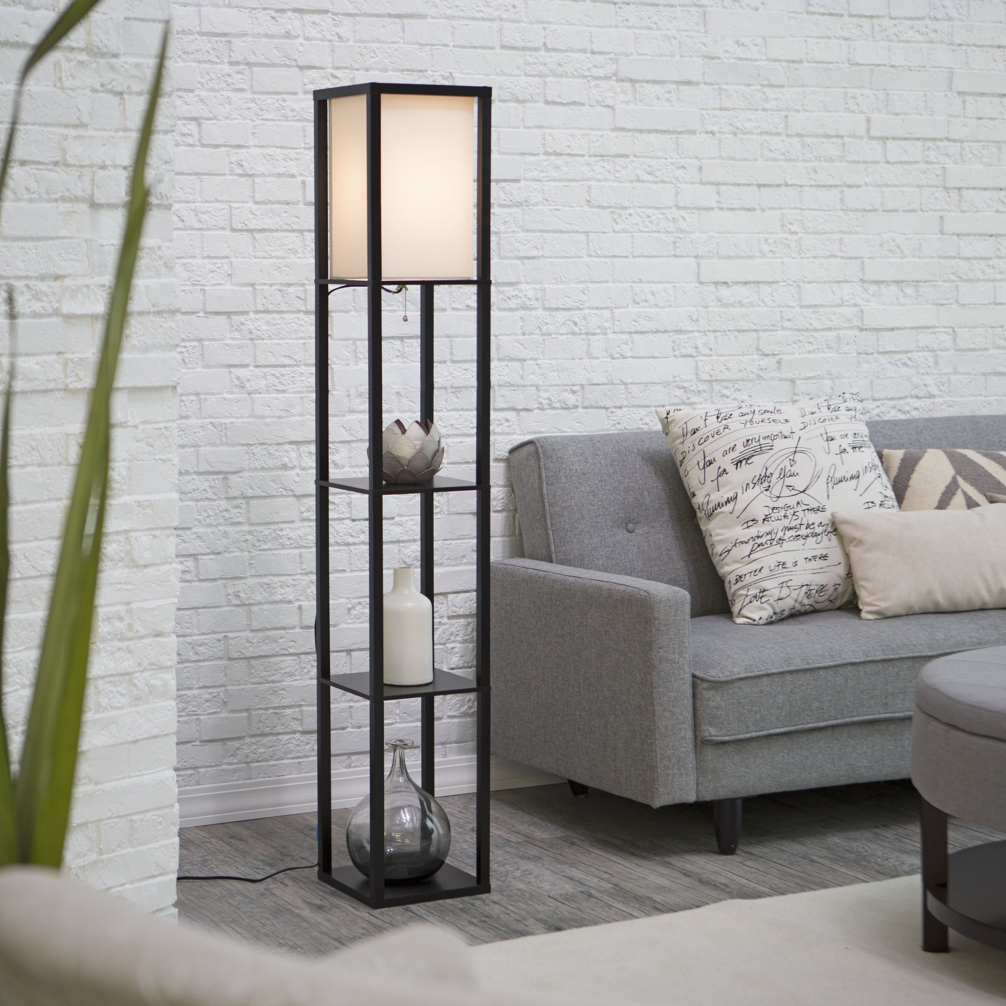 Adesso Wright Shelf Tall Floor Lamp, Black Finish by Generic