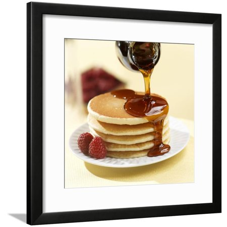 Les Paul Maple Neck - Maple Syrup Pouring over a Stack of Pancakes Framed Print Wall Art By Paul Poplis