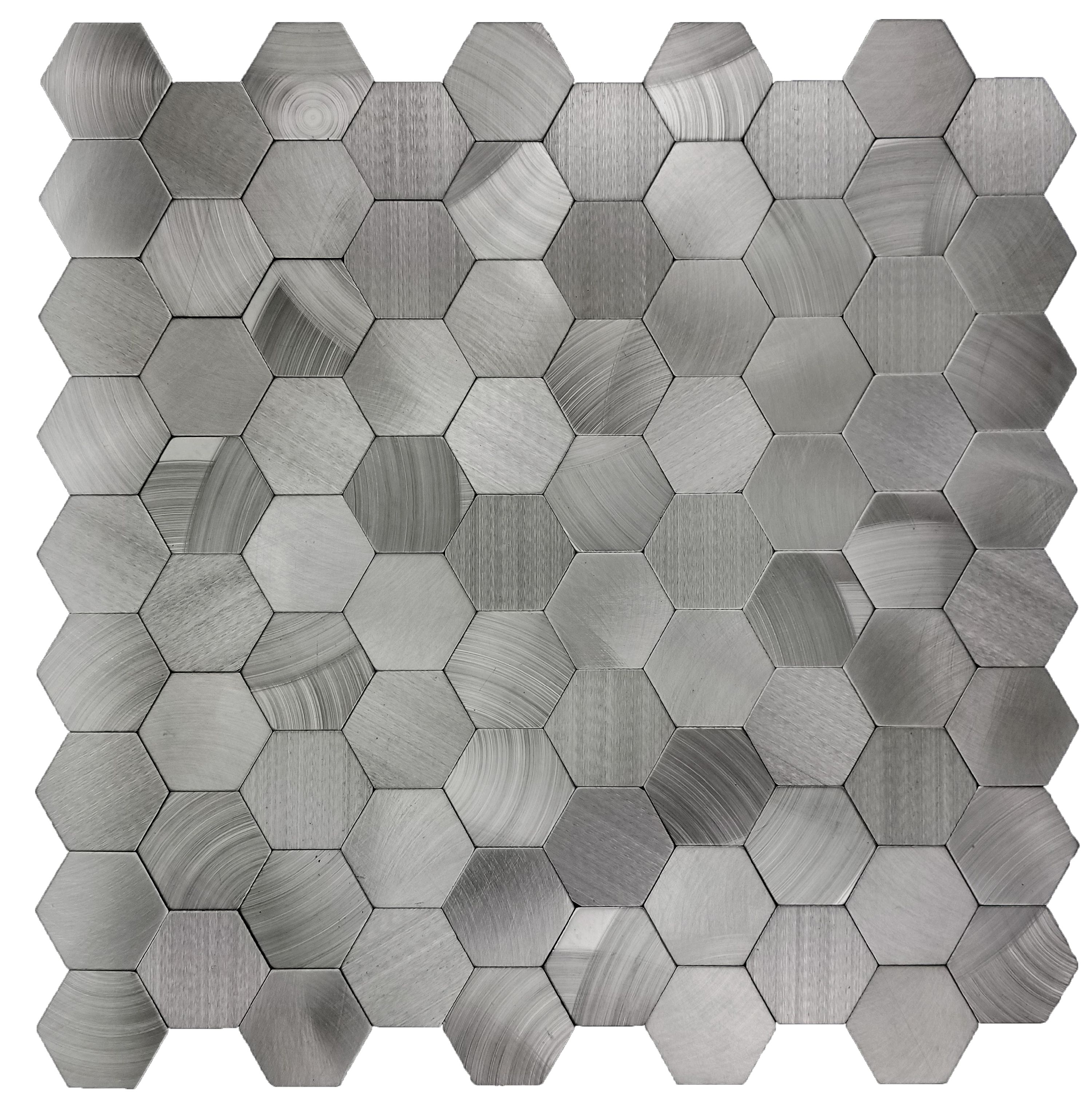 "Abolos- Enchanting Hexagon Wall Backsplash 1.5"" x 1.5"" Peel and Stick Metal Mosaic Tile in Silver (19.80sqft / 22pc Box)"