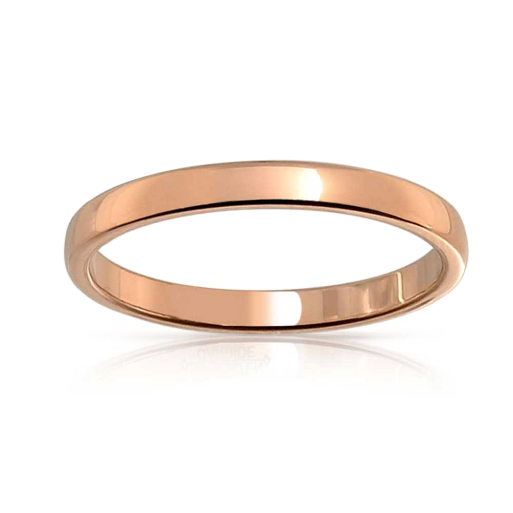 Bling Jewelry Simple Minimalist Thin Stackable Dome Couples Wedding Band Polished 14K Gold Plated Tungsten Ring for Men for Women 2MM
