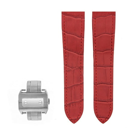 COMPLETE 23MM LEATHER WATCH BAND DEPLOYMENT CLASP FOR 38MM CARTIER SANTOS XL RED