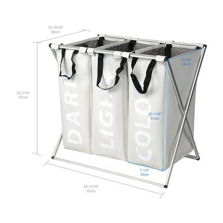 3 Section Foldable Laundry Hamper Laundry Basket, Oxford Metal X-Frame Laundry Washing Sorter, Large 90L Capacity Clothes Storage - image 7 of 7