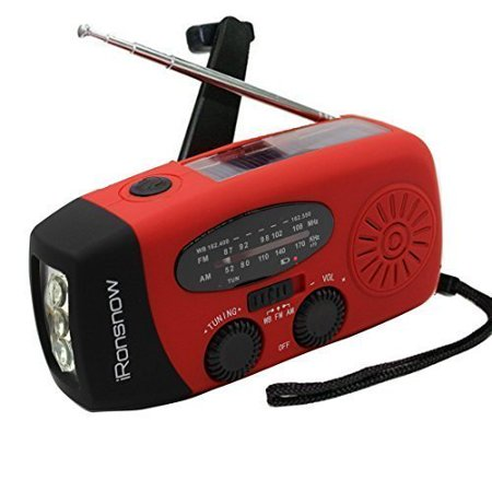 Dynamo Emergency Solar Hand Crank Self Powered Am Fm Noaa Weather Radio Led Flashlight Smart Phone Charger Power Bank With Cables  Red