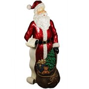 """48"""" Red Santa Claus with List and Gift Sack Christmas Decoration"""