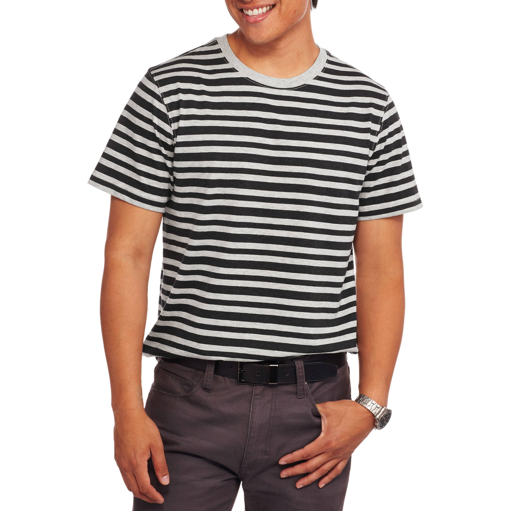 Faded Glory Big Men's Short Sleeve Stripe Crew Tee