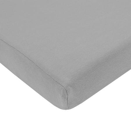 TL Care Supreme Jersey Knit Mini Crib Sheet, Grey (Mini Print Jersey)