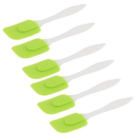Silicone Head Plastic Handle Heat Resistant Nonstick Spatula Scraper Green 6 PCS