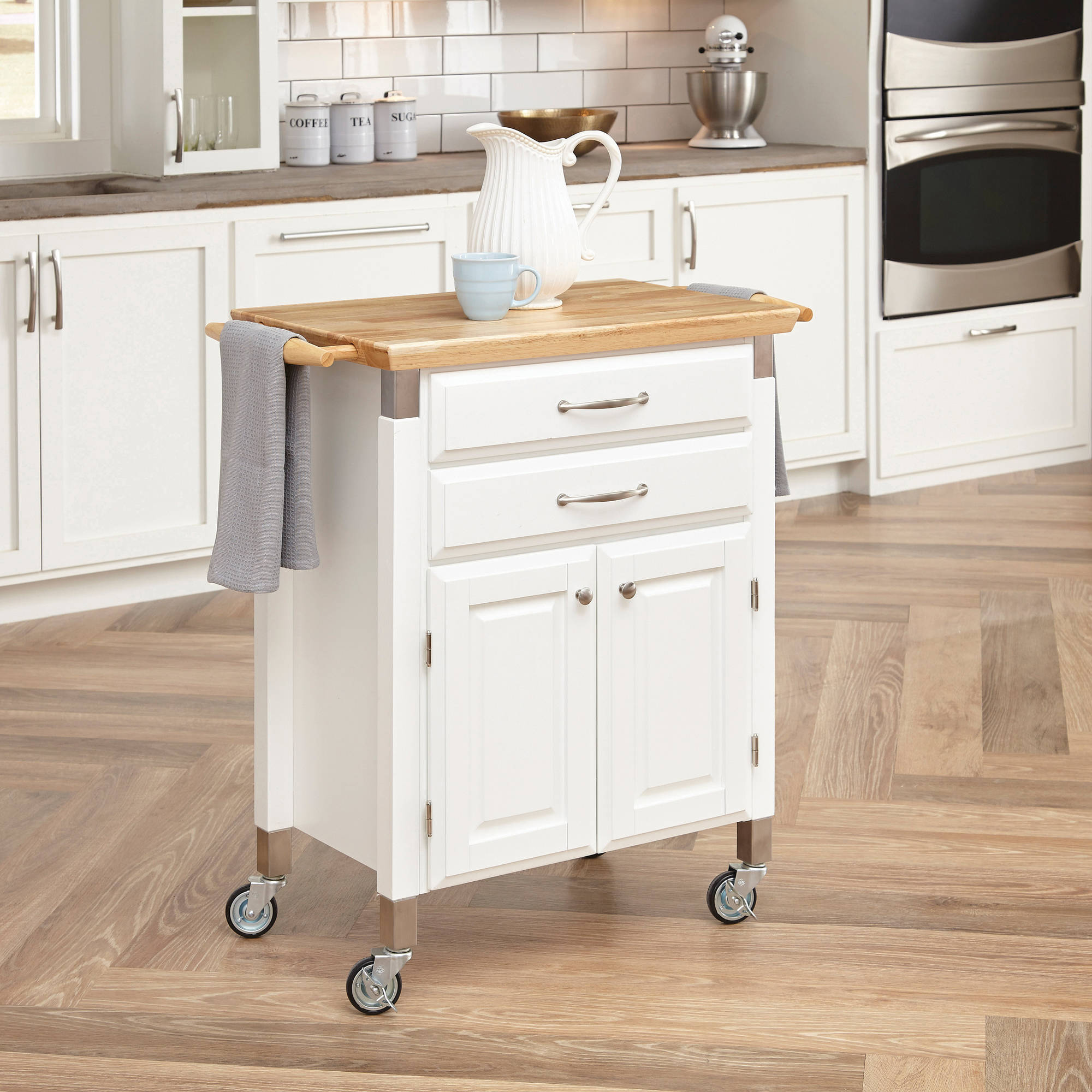Home Styles Dolly Madison Prep and Serve Kitchen Cart, White