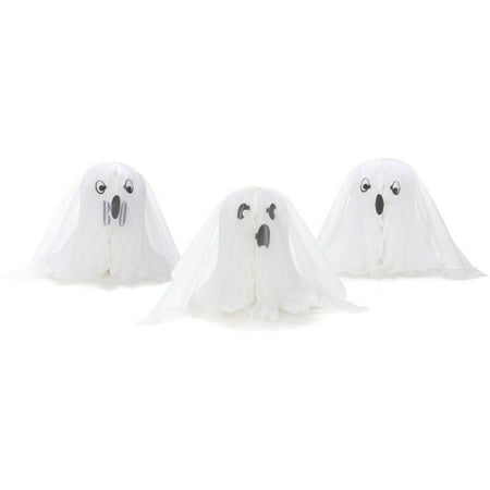 Honeycomb Ghost Halloween Decorations, 3-Count