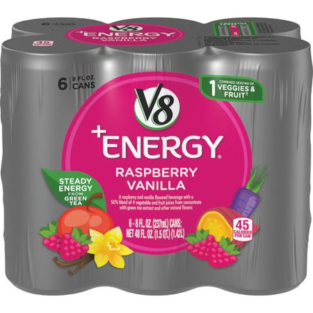 V8 +Energy, Healthy Energy Drink, Natural Energy from Tea, Raspberry Vanilla, 8 Ounce Can, (Packs of