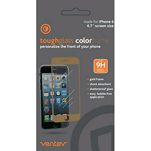 Ventev Toughglass ColorFrame Screen Protector for Apple iPhone 6 / iPhone 6s (Gold)