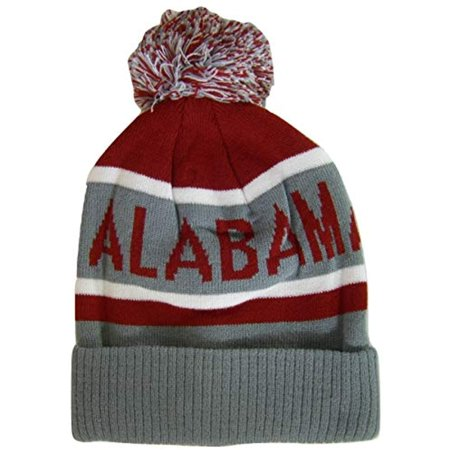 Alabama Adult Size Winter Knit Beanie Hats (Gray/Crimson) (Alabama Beanie Hat)