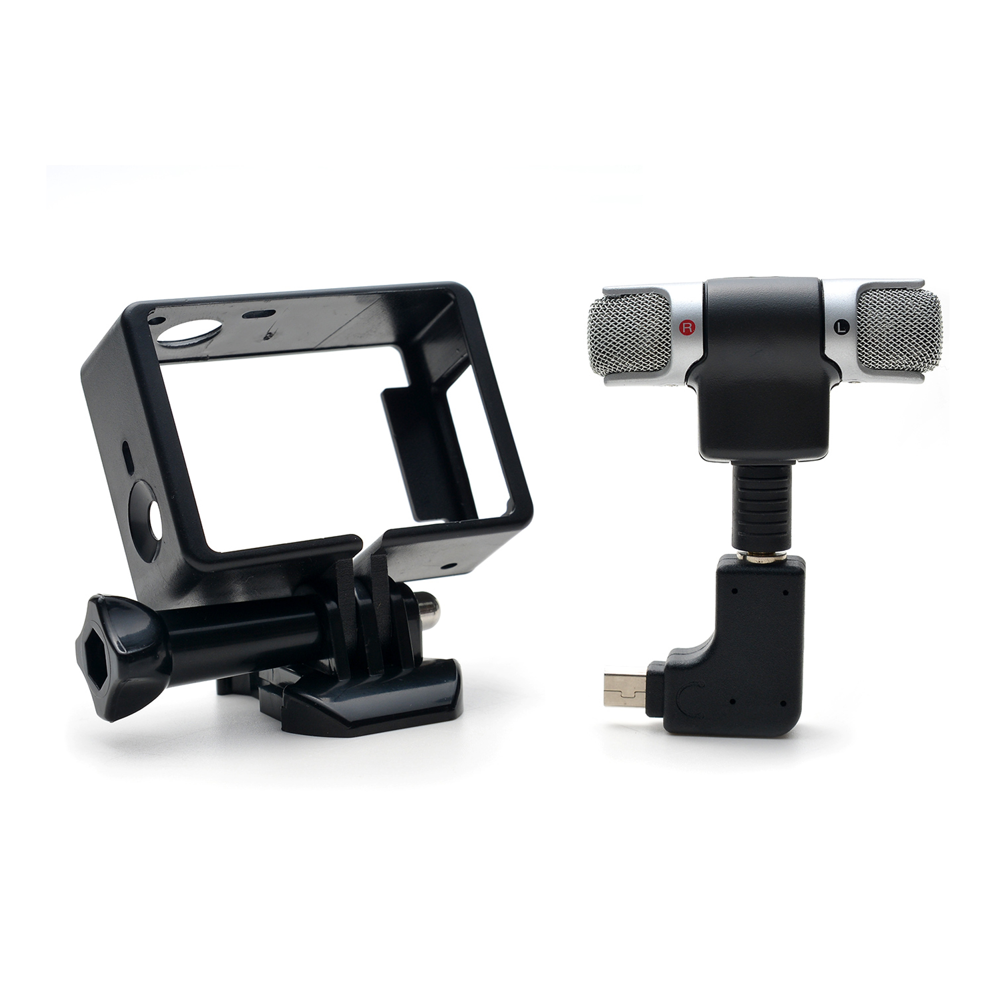 3.5mm MIC Adapter Stereo Microphone accessories with Standard Frame for GoPro Hero 3 3+ 4 by