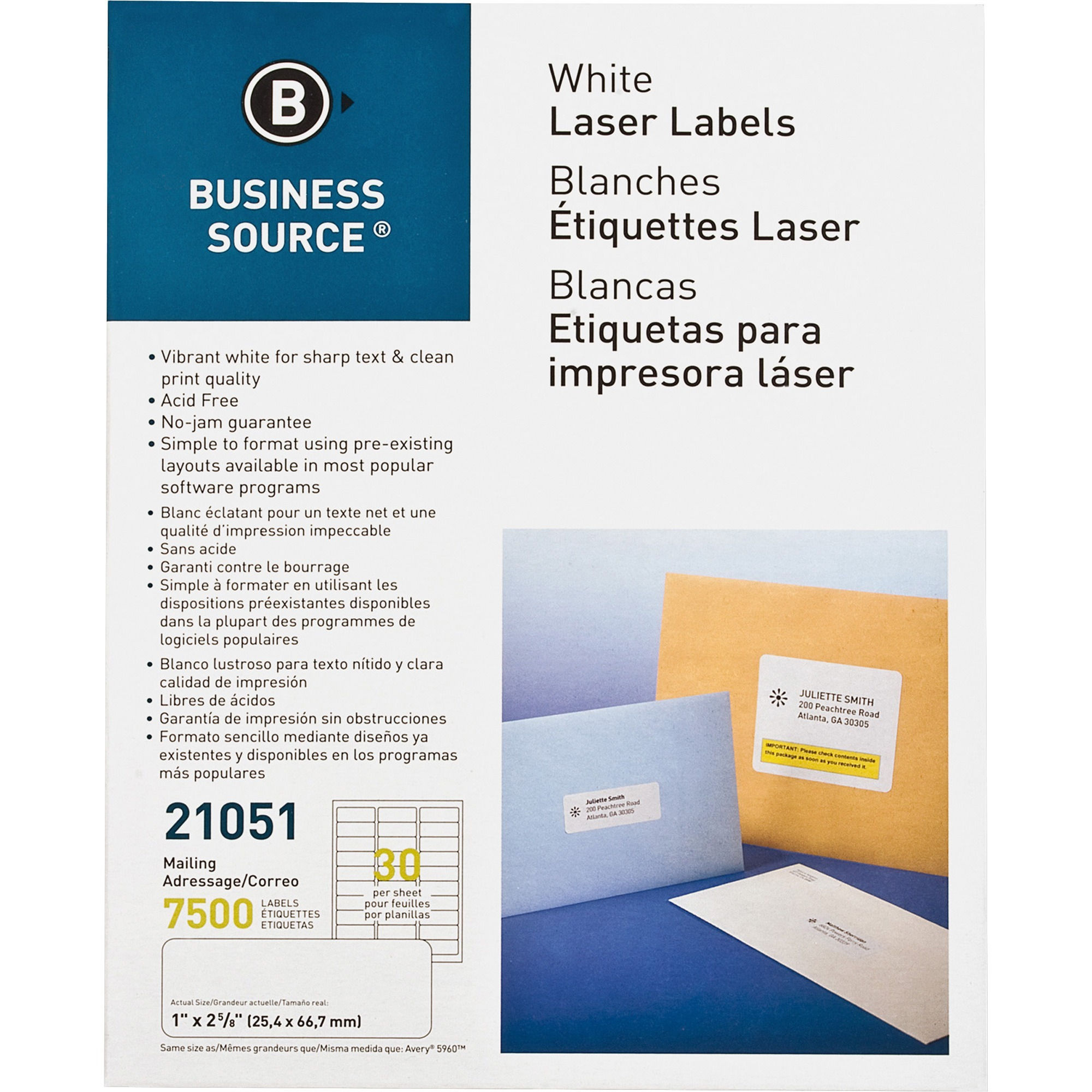 Business Source, BSN21051, Bright White Premium-quality Address Labels, 7500 / Pack, White