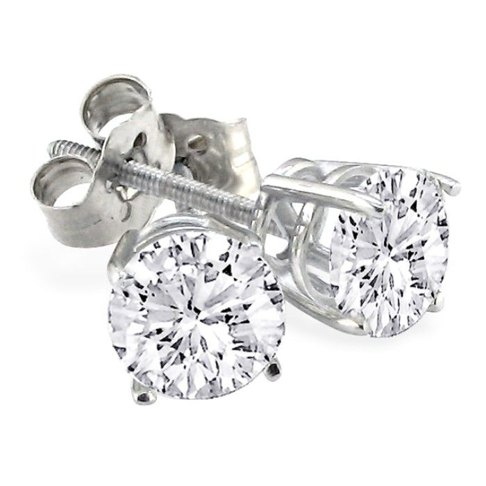 2ct G/H Color Round Diamond Stud Earrings In Platinum