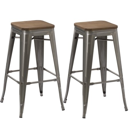Awesome Btexpert 30 Inch Industrial Stackable Vintage Antique Clear Brush Distressed Metal Bar Stools Wood Top Seat Set Of Two Theyellowbook Wood Chair Design Ideas Theyellowbookinfo