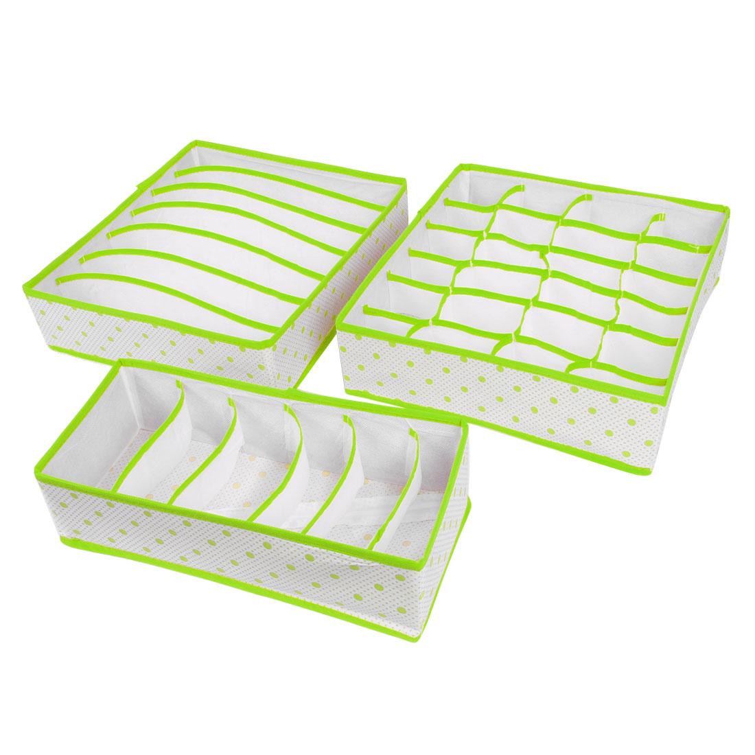 Non-woven Fabric Dot Print Foldable Socks Underwear Storage Box Green 3 in 1