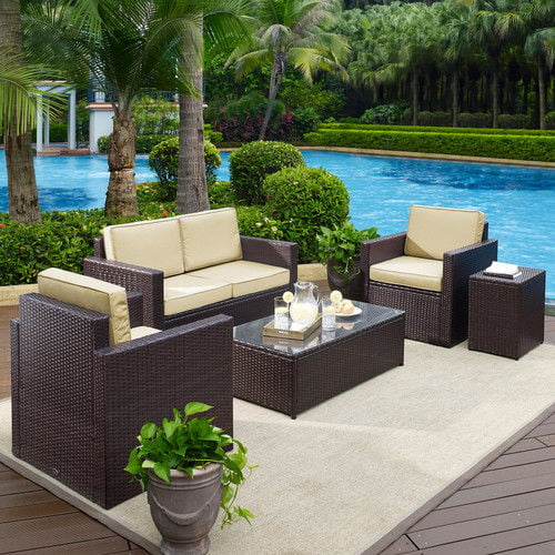 Crosley Furniture KO70053BR-GY Palm Harbor 5-Piece Resin Wicker Outdoor Seating Set (Brown Grey) by Crosley Furniture