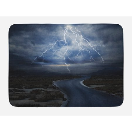Blow Molded Bath (Nature Bath Mat, Thunderstorm over Road Vibrant Strong Beam Before the Sky Blows Weather Image, Non-Slip Plush Mat Bathroom Kitchen Laundry Room Decor, 29.5 X 17.5 Inches, Dark Blue Grey, Ambesonne)
