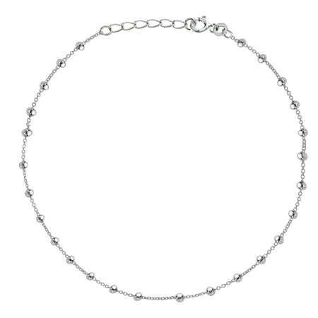 Sterling Silver Beaded Bead Link Chain Anklet Ankle Bracelet 10 - Beaded Ankle Bracelet